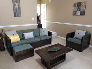 Modern living room set made from natural pinewood for Sale in Benson, NC