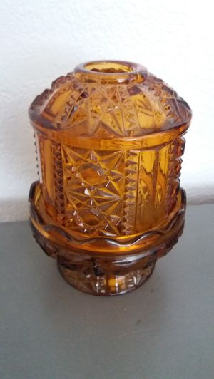 "beautiful Amber glass fairy lamp candle holder , 7""inches , excellent condition , vintage for Sale in Rancho Cucamonga, CA"