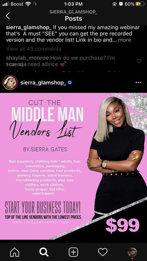 Sierra master vendor list for Sale in Morrow, GA
