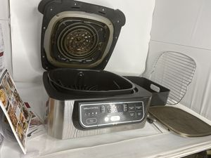 Ninja - Foodi 5-in-1 Indoor Smokeless Air Fry Electric Grill - Stainless Steel/Black for Sale in West Los Angeles, CA