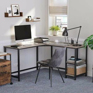 54-Inch L-Shaped Corner Desk / Computer Desk / Writing Study Workstation with Shelves for Sale in El Monte, CA