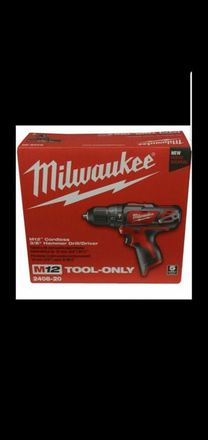MILWAUKEE M12 12-VOLT LITHIUM ION CORDLESS 3/8 IN HAMMER DRILL DRIVER (TOOL ONLY) for Sale in San Bernardino, CA