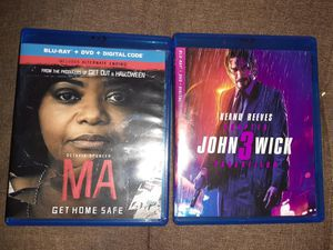 MA DVD used once. John Wick 3 DVD never used. Both for $8 for Sale in Lancaster, CA