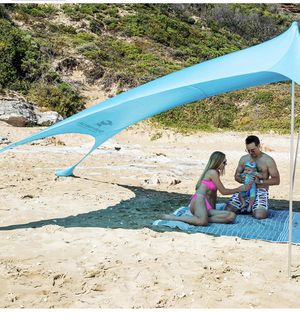 Pop Up Beach Tent Sun Shelter with Sand Shovel, Ground Pegs,and Stability Poles, Outdoor Shade for Camping Trips, Fishing, Backyard Fun or Picnics (1 for Sale in Chino, CA