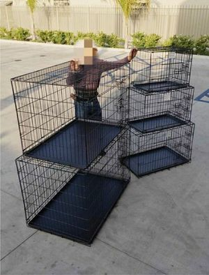 """Brand New $25 to $65 range 24"""" 30"""" 36"""" 42"""" 48"""" foldable 2 doors dog cage with tray crate kennel collapsible jaula de perro for Sale in Whittier, CA"""