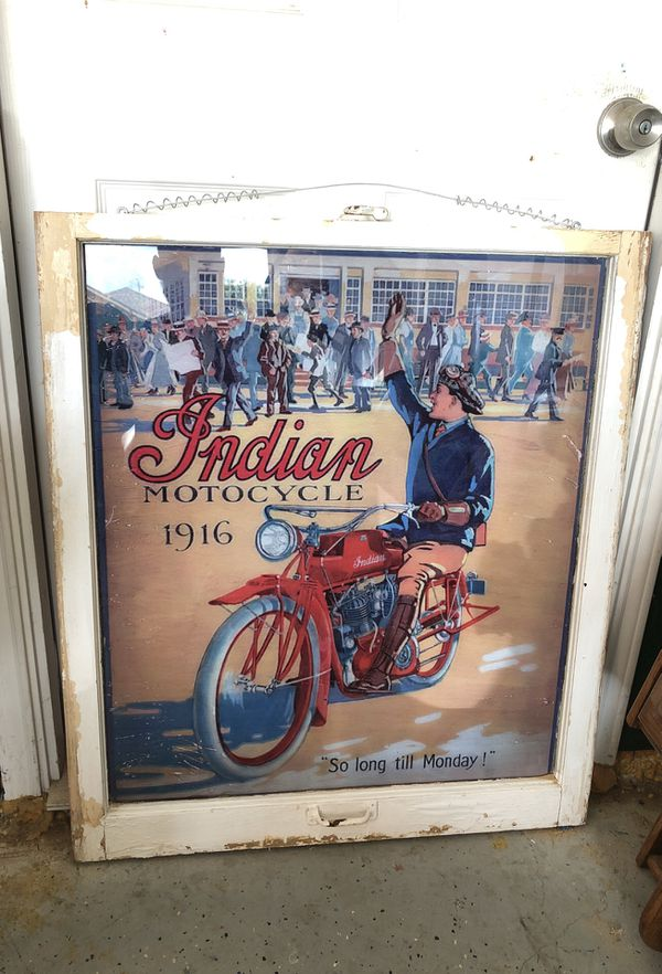 Indian motorcycle refinished glass picture