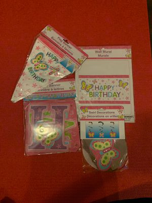 Butterfly birthday decorations for Sale in Rancho Cucamonga, CA