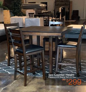 5pc Cappuccino Counter Height Dining Set Free Delivery for Sale in Dallas, TX