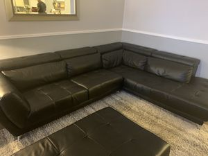 Black Sectional Couch with Ottoman for Sale in Rockledge, FL