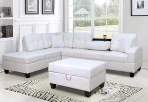 New! White Leather Storage Sectional and Ottoman + FREE DELIVERY!!! for Sale in Columbia, MD