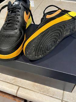 "Men's Size 9 NIKE AIR FORCE 1 '07 LV8 ""Black/Orange/Opti Yellow"" for Sale in Visalia,  CA"