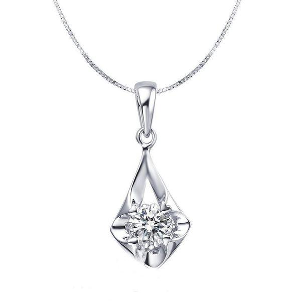 Sparkling 1.00 Carat Diamond Ladies Necklace Pendant Gold White 14K
