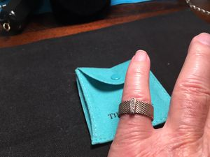 Tiffany & Co Somerset Mesh Wide 4 Diamond 925 Sterling Silver Size 6 Band Ring for Sale in Columbia, SC