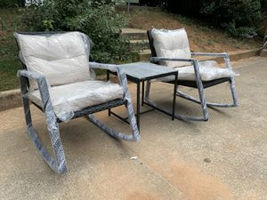 Brand New 3 Pieces Patio Set Outdoor Wicker Patio Furniture Sets Rocking Chair Bistro Set Rattan Chair for Sale in Tucker, GA