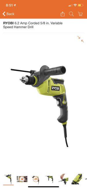 RYOBI 6.2 Amp Corded 5/8 in. Variable Speed Hammer Drill for Sale in Glendora, CA