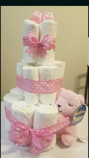 Baby girl diaper cake for Sale in San Diego, CA