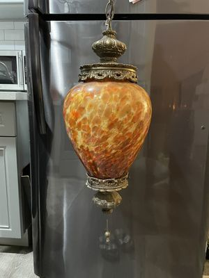 Antique Amber Speckled Glass Hanging Lamp for Sale in Los Angeles, CA