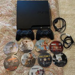 PlayStation 3 Slim (120 GB) with 2 Controllers and 9 Games for Sale in Los Angeles,  CA