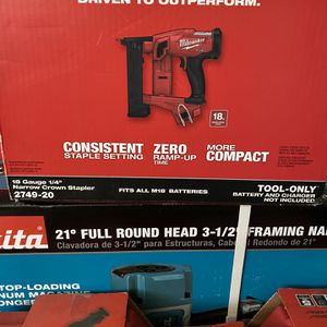 MILWAUKEE M18 FUEL CROWN STAPLER 18 GAUGE BRUSHLESS TOOL ONLY NEW $184 for Sale in Chula Vista, CA