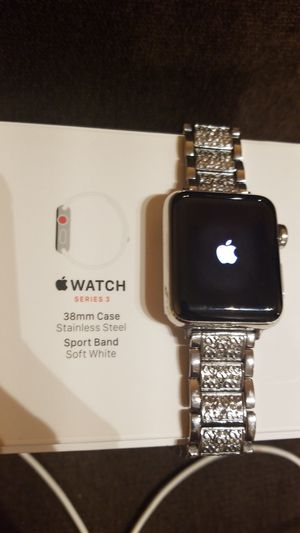 Apple watch Series 3, 38mm Case, Stainless Steel, with cellular, new, barely used. 4 fashion watch bands. for Sale in Beaverton, OR
