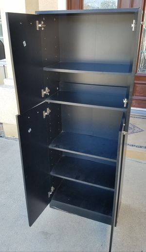 Black 2 Tier Petite Storage Cabinet Stand Unit Organizer + 5 Tier Adjustable Shelves INCLUDED lk Ikea for Sale in Monterey Park, CA
