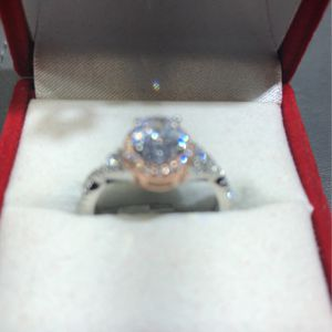 Beautiful Two-tone crisscross halo setting Sterling silver ladies ring for Sale in Houston, TX