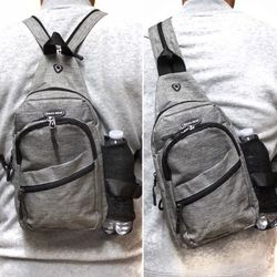 Brand NEW! Grey Small Crossbody/Side Bag/Sling/Pouch For Everyday Use/Work/Outdoors/Hiking/Biking/Sports/Gym/Traveling for Sale in Carson,  CA