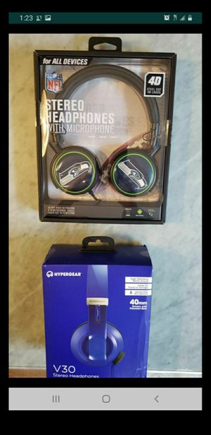For sale 2 , 1. NFL ultra high definition stereo headphones wired 2. New HyperGear V30 Headphones with Microphone 3.5mm - blue Both for $20 for Sale in La Mesa, CA