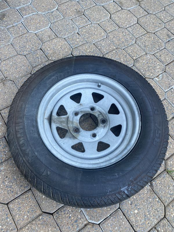 Boat trailer tire and ring and wheel for sale. 155/80R13.