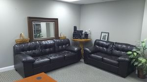 Leather chocolate brown sofa love seat set with bonus items for Sale in Peoria, IL
