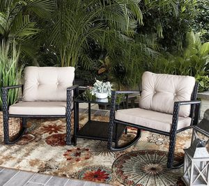 SHIPPING ONLY 3 Piece Patio Furniture Set Rocking Chair and Table Set w/Cushions for Sale in Las Vegas, NV
