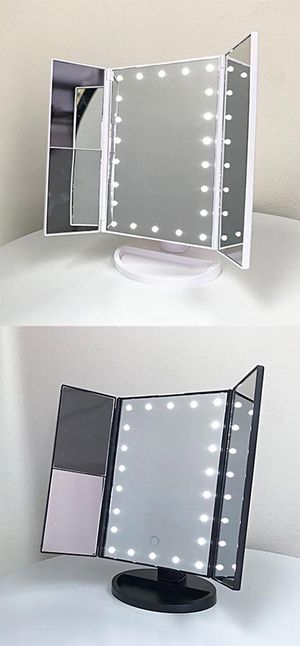 """Brand new $20 each Tri-fold LED Vanity Makeup 13.5""""x9.5"""" Beauty Mirror Touch Screen Light up Magnifying for Sale in Whittier, CA"""