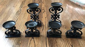 "4"" & 9"" Pottery Barn Scrolly Pillar Candle Holders Wrought Iron Black for Sale in Los Angeles, CA"