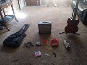 Guitar and amp with other accessories for Sale in Englewood, CO