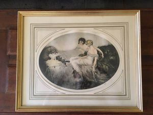 """""""French Dolls"""" Hand stunted Etching signed by Cote 1920 for Sale in Las Vegas, NV"""