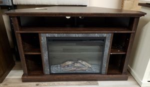 "NEW Espresso Faux Slate Front Corner Media Fireplace TV Stand: Up to 50"" TV for Sale in Burlington, NJ"