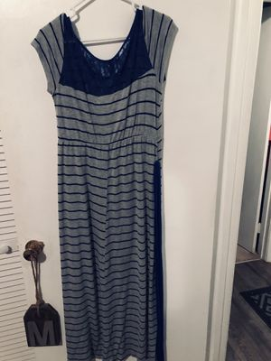 Size large grey and blue stripe long maxi dress for Sale in Chattanooga, TN