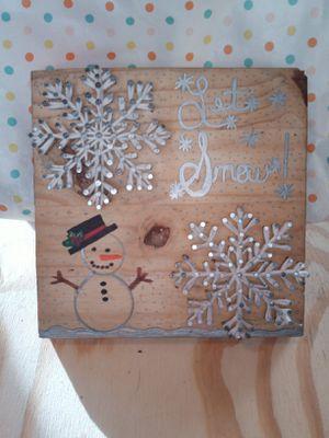 """Let it Snow"" Snowman/Snowflakes Handmade String Art Decor for Sale in Dallas, TX"