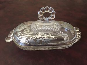 Beautiful Vintage 1940's Duncan & Miller Glass Butter Dish with Silver Floral Overlay for Sale in El Cajon, CA