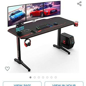 VANSPACE 55 Inch Gaming Desk with Free Mouse Pad, Ergonomic T-Shaped Office Desk PC Computer Desk, Gamer Tables Pro Workstation with USB Gaming Handle for Sale in Henderson, NV