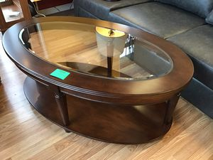 New Cherry Wood Glass Top Coffee Table for Sale in Norfolk, VA
