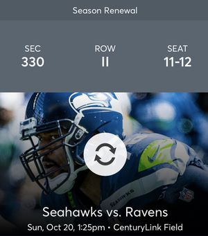 Seahawks tickets 10/20 vs. Ravens game tickets for Sale in Tacoma, WA