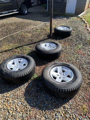 Set of Jeep Wheels & Goodyear Wrangler Tires for Sale in Gold Hill, NC