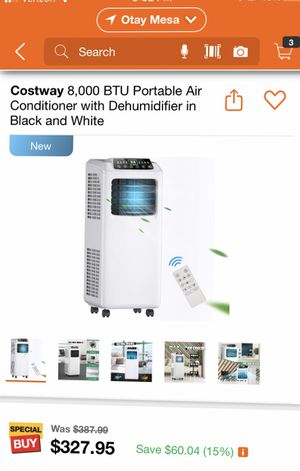 Costway 8,000 BTU Portable Air Conditioner with Dehumidifier in Black and White for Sale in San Diego, CA