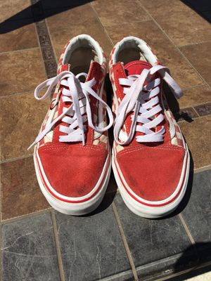 Red checkered Vans Size 8 for Sale in Union City, CA