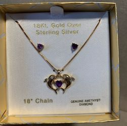 18k Gold over Sterling Silver Necklace And Earrings for Sale in Canton,  MA