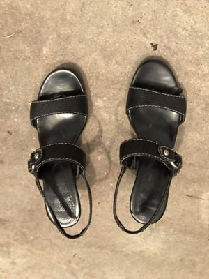 Black ladies wedge heel shoes size 7.5 for Sale in Town and Country, MO