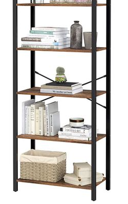 5-Tier Bookshelf, Home Office Bookcase, Storage Rack with Steel Frame, for Living Room, Office, Study, Hallway, Industrial Style, Rustic Brown and Bl for Sale in Rancho Cucamonga,  CA