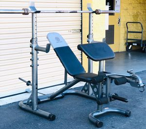 """Olympic Weight Bench & Adjustable Squat Rack With 7ft Olympic 2"""" Bar for Sale in Corona, CA"""