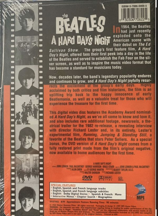A HARD DAY'S NIGHT DVD 1997 RELEASE NEW SEALED RECALLED